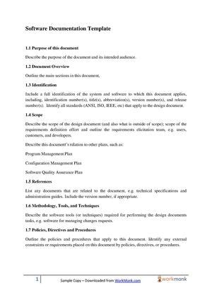 software documentation template calam 233 o software documentation template