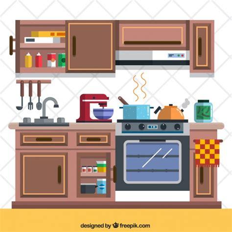 cucina con gratis cucina con elementi scaricare vettori gratis
