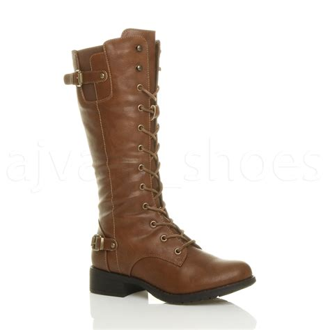 womens low heel lace up zip biker army combat