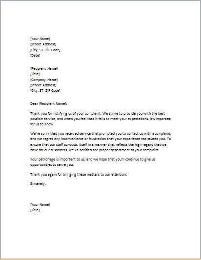 Cancellation Letter Due To Poor Service Professional Business Letter Templates Formal Word Templates