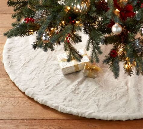 70 inch christmas tree skirt alpaca faux fur tree skirt pottery barn