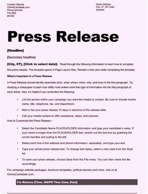 free sle press release template word