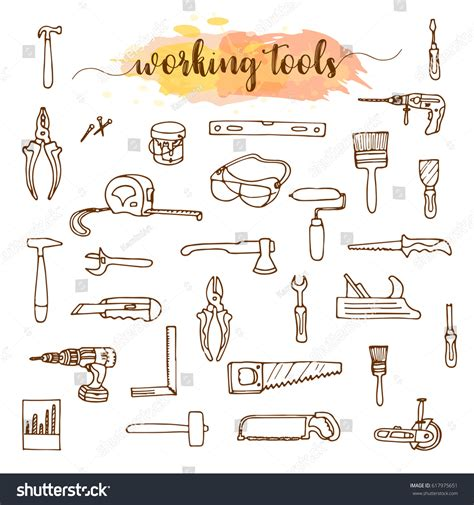 doodle create tools set working tools doodle sketch stock vector 617975651