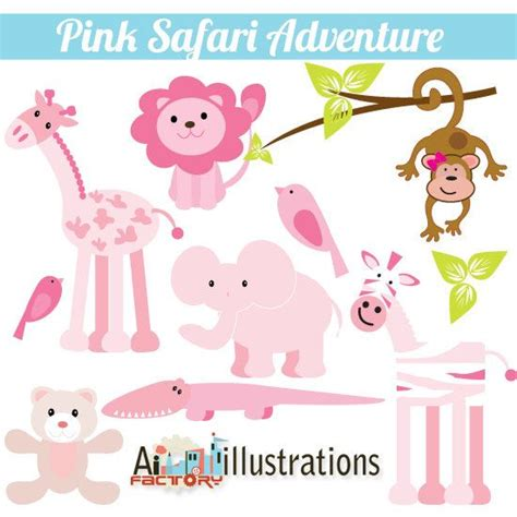 Pink Zoo pink safari zoo animals adventure personal use clipart