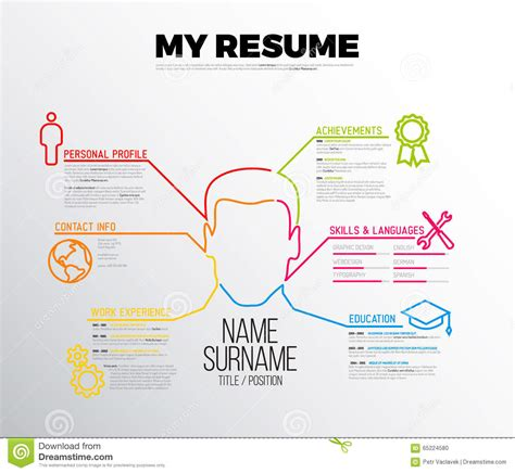 Original Cv Resume Template Stock Vector Image 65224580 Original Resume Templates
