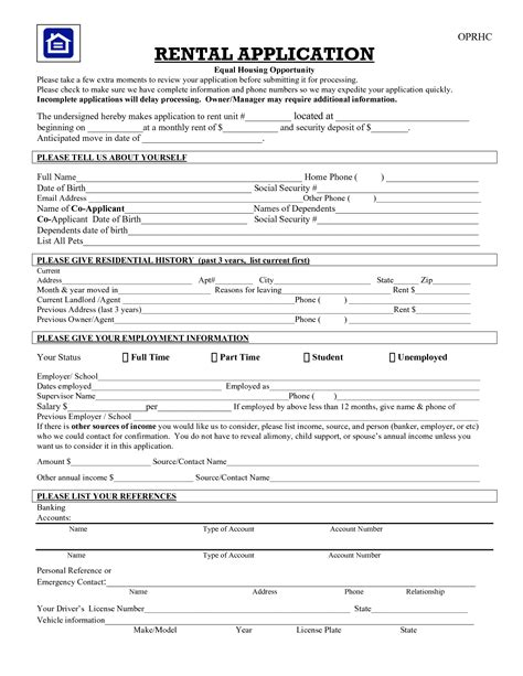 printable house rental application best photos of tenant application form template free