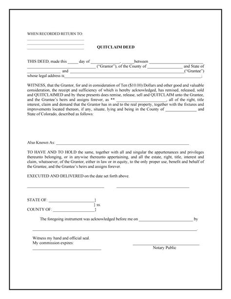printable quit claim deed form 46 free quit claim deed forms templates template lab