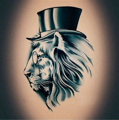 cat tattoo top hat steunk mr lion with top hat fashion pattern temporary