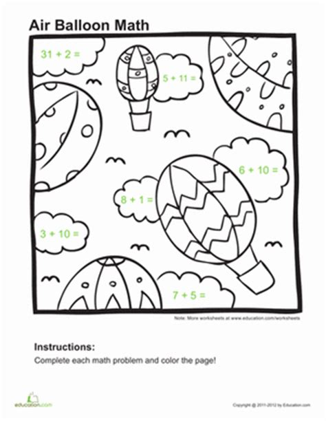 educational coloring pages for first graders addition coloring page worksheet education com