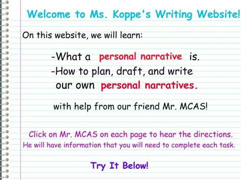 How Do You Write A Personal Narrative Essay by Writing A Personal Narrative Welcome