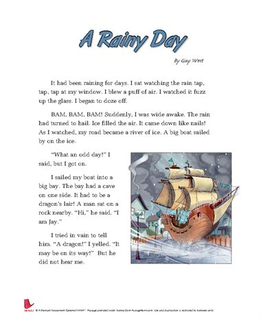 A Rainy Day Essay by Passagbank A Passage Search Engine For Teachers