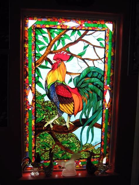 stained glass rooster l 359 best vitrail oiseaux images on pinterest stained