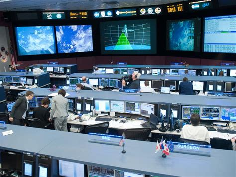 nasa overall view of the space station flight room