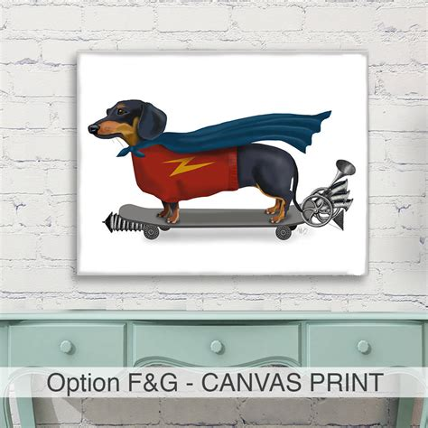 dachshund home decor dachshund print dachshund queen by dachshund print superhero on skateboard art print by
