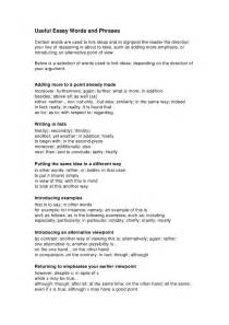 Essay Writing Phrases by Useful Argumentative Essay Words And Phrases