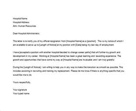 Nurses Resignation Letter Sle by 8 Nursing Resignation Letter Templates Free Sle