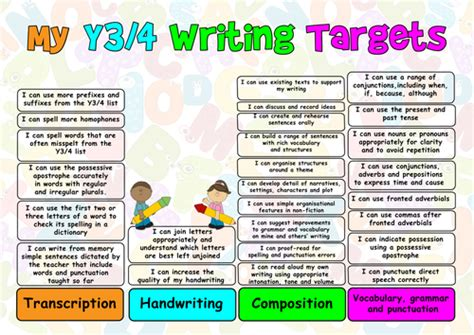year 4 english targeted new english curriculum 2014 pupil writing target sheets year 3 4 by mrteachuk teaching
