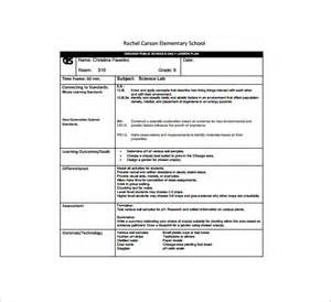 Lesson Plan Template Elementary School by Daily Lesson Plan Template 12 Free Sle Exle