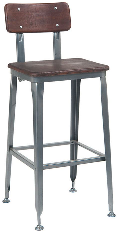 industrial style bar stools with back dark grey industrial style metal bar stool with wood back