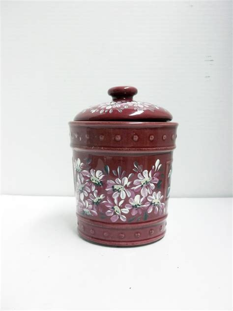 stoneware jar burgundy kitchen canister food storage hand