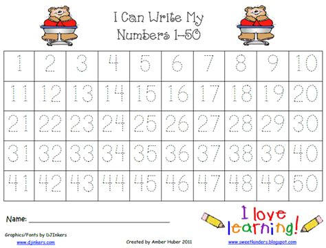 Tracing Numbers 1 50 Worksheets by Sweet Kinders Number Practice