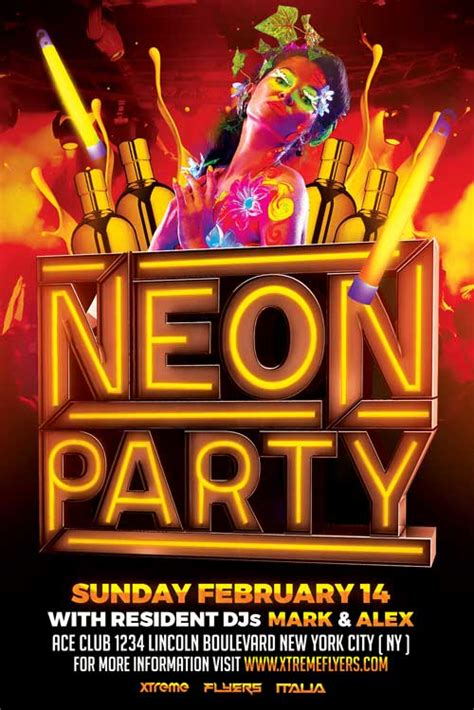 Neon Party Flyer Template Xtremeflyers Neon Flyer Template Free