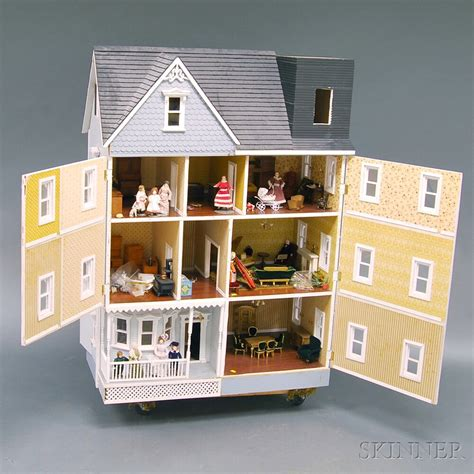 victorian style doll houses large three story victorian style dollhouse with furnishings sale number 2654m lot