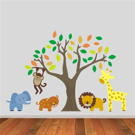 jungle animals  tree wall stickers  mirrorin