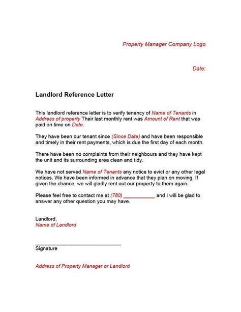 Business Tenant Reference Letter 40 landlord reference letters form sles template lab
