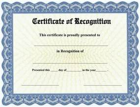 printable certificate of recognition templates free certificate of recognition free printable certificates