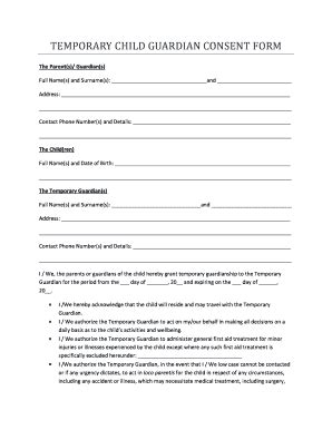 Authorization For Consent To Medical Treatment Of Minor Child Forms Parent Guardian Consent Form Template