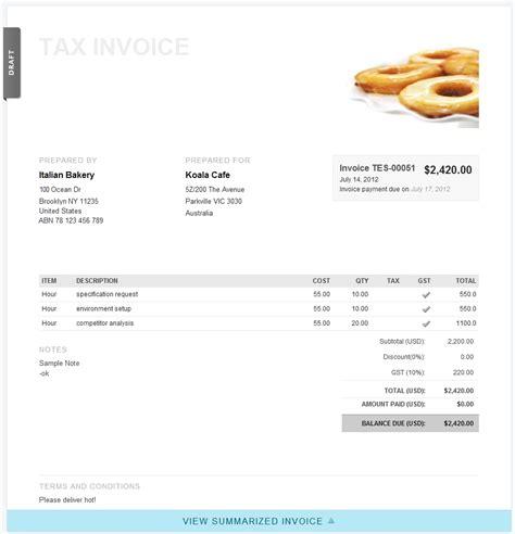 recipient created tax invoice exle invoice template ideas