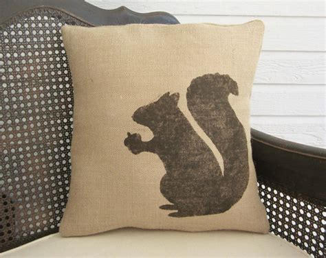 Burlap Pillow by Woodland Squirrel Pillow Burlap Squirrel Pillow Fall
