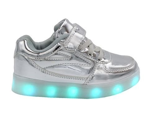 silver kid shoes galaxy led shoes light up usb charging low top lace