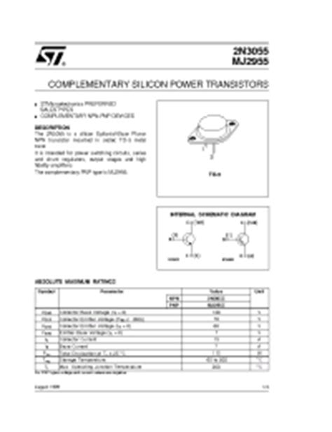 transistor 2n3055 toshiba datasheet 2n3055 stmicroelectronics complementary silicon power transistors