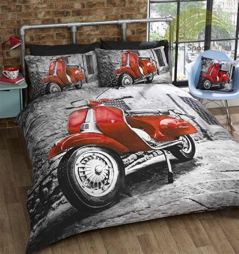 Bettdecke Roller by Retro Roller Motorrad Vespa Lambretta Rot Blau