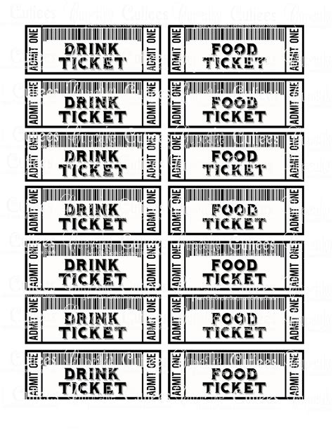 Food Ticket Template Portablegasgrillweber Com Drink Ticket Template
