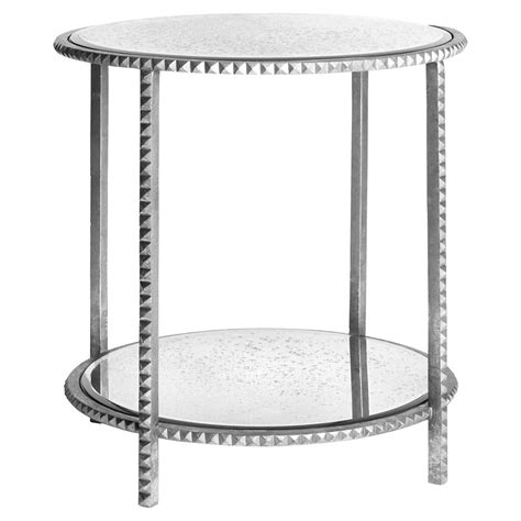 silver leaf end table silver leaf studded end table with antique mirror