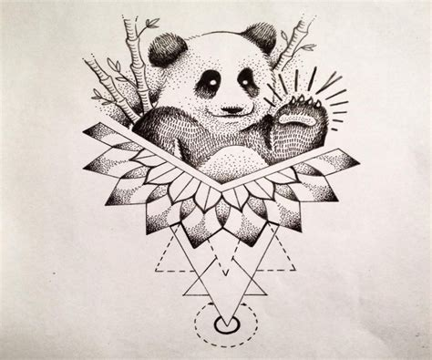 tattoo panda geometric dotwork panda waving with his paw on geometric and mandala