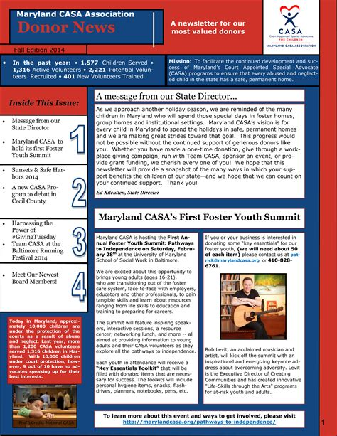 Donation Newsletter Fall Edition 2014 Maryland Casa