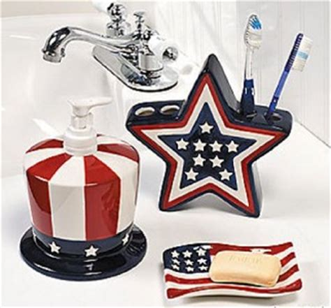 Patriotic Bathroom Accessories Ceramic American Flag Decor