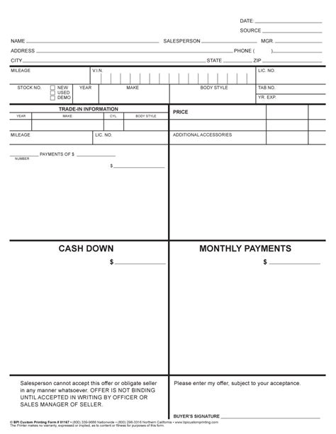 Car Sales Worksheet Template 4 Square Worksheet Bpi Dealer Supplies