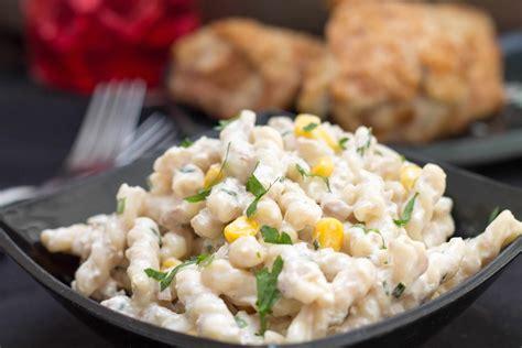 tuna pasta salad quick and easy corn tuna pasta salad erren s kitchen