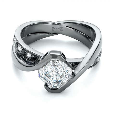 custom black and white engagement ring 103342