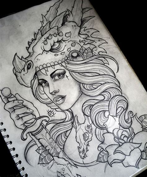 tattoo sketch dragon not to much of a fan of the dragon on her head but i like