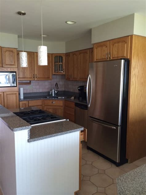 Painted And Glazed Outdated Honey Oak Cabinets
