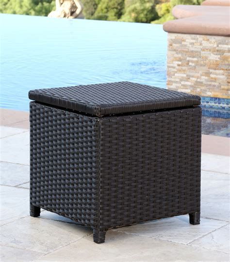 Outdoor Wicker Storage Ottoman Patio Furniture Newport Outdoor Espresso Brown Wicker Storage Ottoman