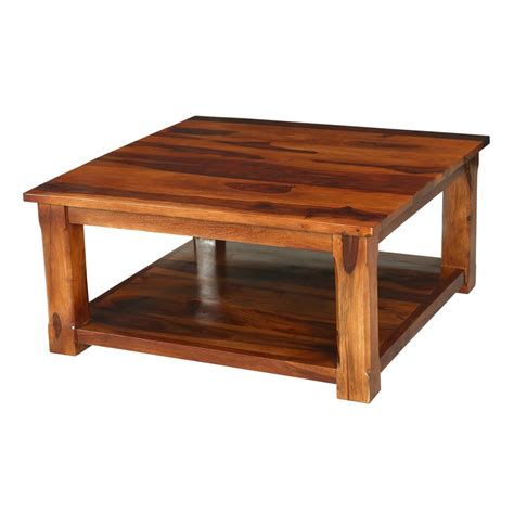Coffee Table Rustic Wood Rustic Solid Wood Nevada 2 Tier Square Shaker Coffee Table