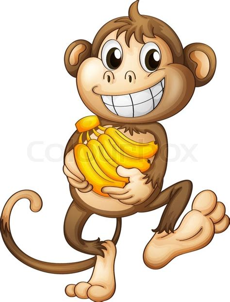 Monkilo Banana a happy monkey with bananas stock vector colourbox