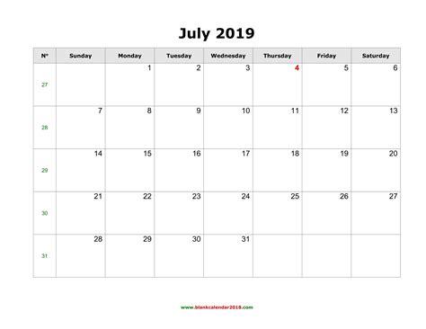 july  calendar  week numbers printable monday